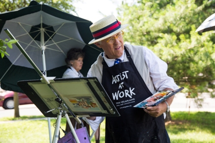 An artist concentrates on his subject at the Plein Air Art Festival and Competition in Easton, Maryland, the largest and most successful festival of its kind in the country.