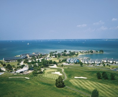 Harbourtown Golf Resort aerial view.